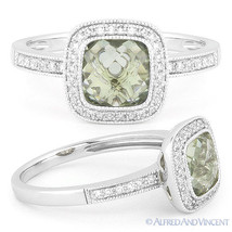 1.57ct Checkerboard Green Amethyst Round Cut Diamond Pave Ring in 14k Wh... - £406.67 GBP