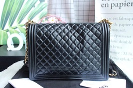 AUTHENTIC CHANEL BLACK QUILTED GLAZED CALFSKIN LARGE BOY FLAP BAG RECEIPT GHW image 4