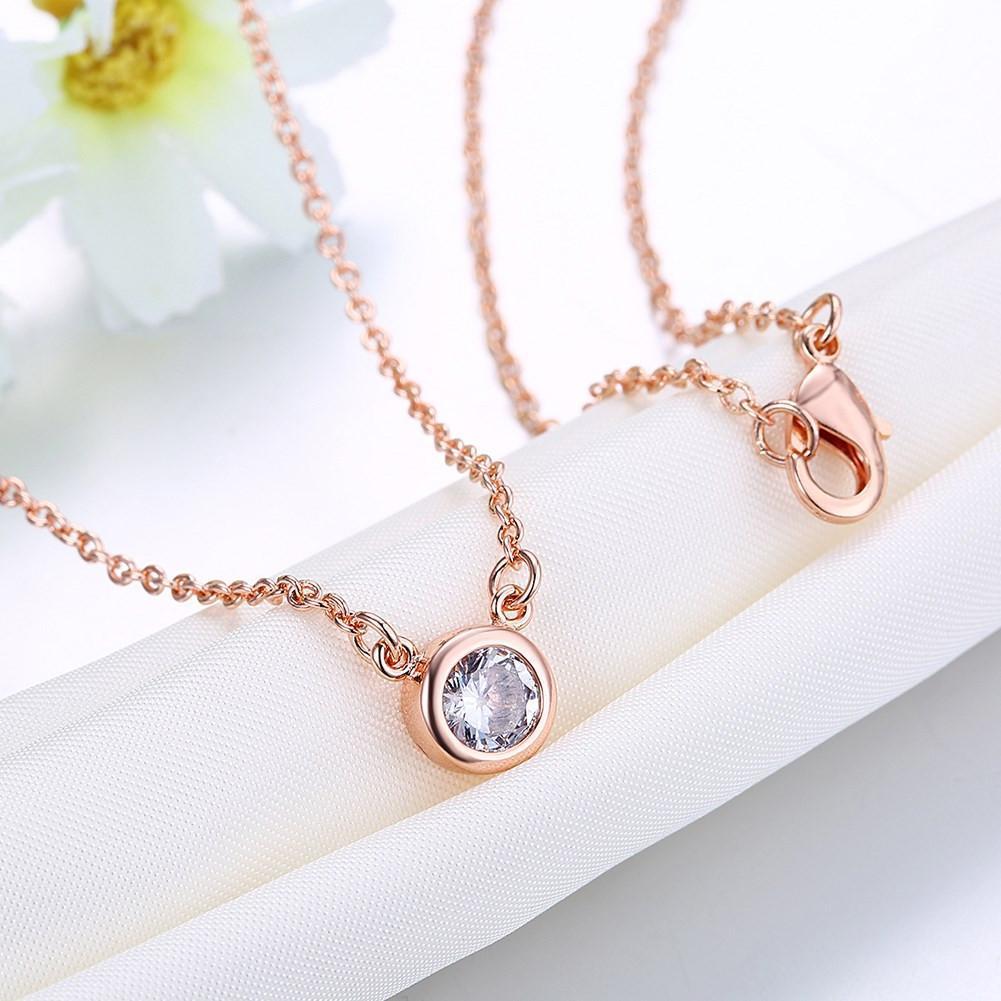 Swarovski Crystal 18K Rose Plated Bezel Necklace