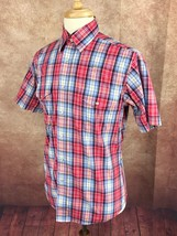 Wrangler Fitted Western Pearl Snap Short Sleeve Red Check Shirt Men's M - $17.81