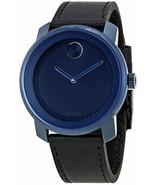 Movado Bold Blue Dial Swiss Black Leather Band 3600481 Quartz 2 Hand Men... - $242.55