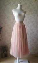 Blush Pink Long Tulle Skirt High Waisted Plus Size Long Tulle Tutu Blush Skirt image 2
