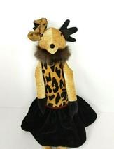 Woof & Poof Musical Holiday Reindeer Velvet Black Skirt 2010 Leopard Pri... - $46.48