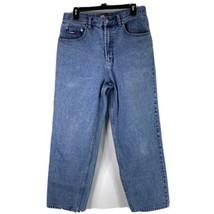 Vintage '01 Tommy Hilfiger Adult Size 33x30 Light Blue Big Flag Logo Tom... - $29.66