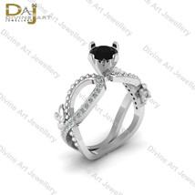 1.10cttw Black and White Diamond Nature Flower Art Nouveau Wedding Ring ... - €103,41 EUR