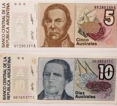 2 Notes from Banco Central de La Republica Argentina, 5, 10 Australes UNC - $1.95