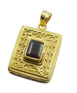 Fashion Gold Plated Ruby CZ Gemstone Pendant Jewelry FTU2MJP20 - $28.31