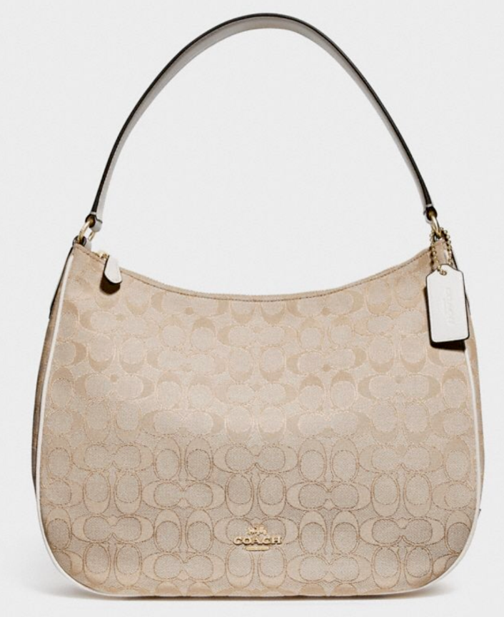NWT Coach F27579 Lexy Shoulder Bag in Outline Signature Khaki//Chalk