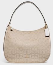 New Coach 29959 Zip Shoulder bag Signature Jacquard handbag Light Khaki ... - $104.00