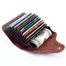 Genuine Leather Credit Card Holder Wallet for Men Women 15 Card Slots S - $24.54
