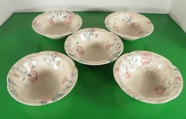 Johnson Brothers LYNTON Rim Cereal Bowl (s) LOT OF 5 England Pink Blue Flowers - $41.32