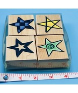 SET OF 4 Hero Arts Fun Stars Wood Mounted Rubber Stamps NEW Free Shippin... - $12.62