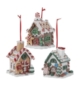 KURT ADLER SET OF 3 CLAYDOUGH B/O LIGHTED LED GINGERBREAD HOUSE XMAS ORN... - $28.88