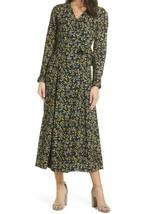 CAARA black dainty floral print Cristal long sleeve midi wrap dress extr... - $50.00