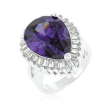 Cubic Zirconia Purple and Clear Cocktail Ring - $56.00