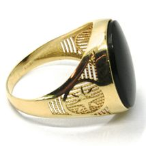 18K YELLOW GOLD BAND MAN RING, OVAL CABOCHON BLACK ONYX, COMPASS WIND ROSE image 3
