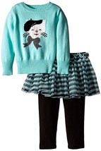 Bonnie Jean Baby Girls 3M-9M Aqua-Blue Kitty Cat Intarsia Sweater/Legging Set