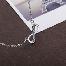 NEW!! SWAROVSKI Infinity Necklace, White Crystal, Rhodium Plating 2017  ... - $12.73