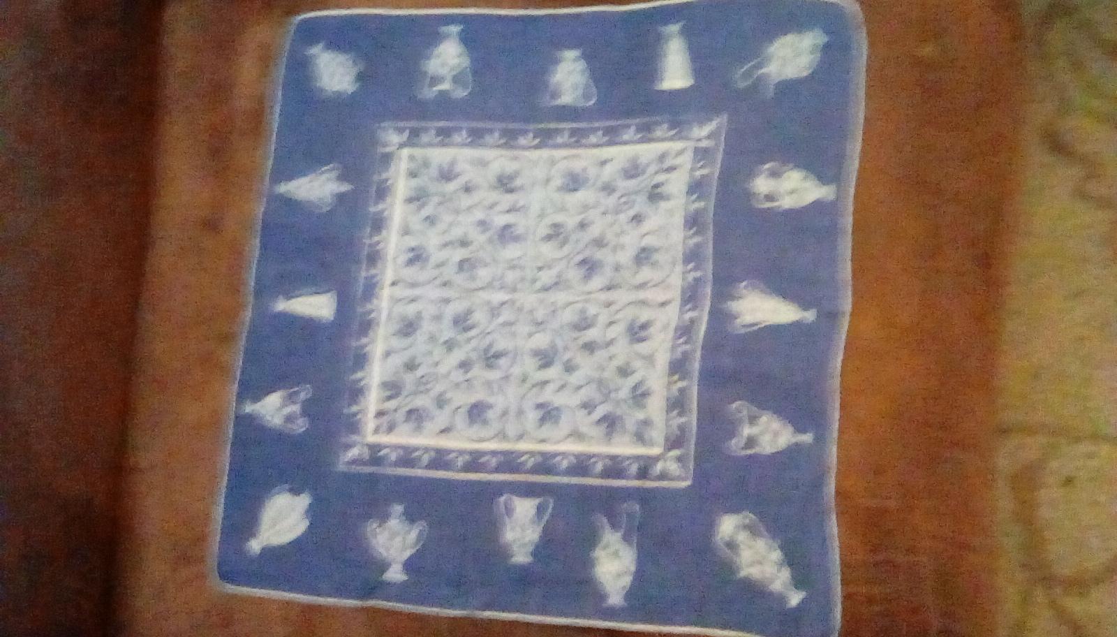 Faith Austin Handkerchief EUC Blue Urn Print image 7