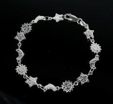 Vintage 925 Sterling Silver Signed HAN Smilin Sun Moon Link Tennis Brace... - $27.07