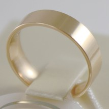 18K YELLOW GOLD WEDDING BAND UNOAERRE SQUARE RING MARRIAGE 5 MM, MADE IN ITALY image 2