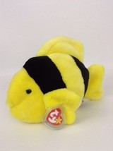 "1998 Ty Beanie Buddies Black & Yellow Bubbles Fish 12"" Plush Stuffed Ani... - $12.82"