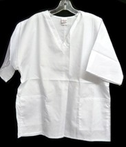 Scrub Top Premier Uniforms V Neck White 2 Pocket Medical 5XL Unisex Scrubs New - $19.37
