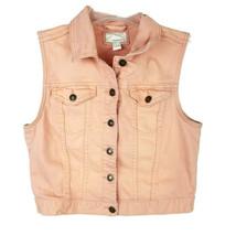 Forever21 juniors M denim jean vest peach rose gold orange waist length ... - $14.49