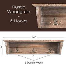 """Handcrafted Rustic Wooded Wall Mounted Hanging Entryway Shelf, 6 hooks. 24""""x6"""" U image 3"""