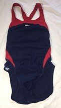 Womens Nike Competition Swimsuit Navy Blue Red Size 6 - $16.45