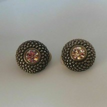Vintage Joan Rivers Round Raised Silver-tone Clear Rhinestone Clip-on Earrings - $37.00