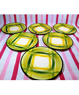 Darling 1940's Vernon Kiln USA Pottery Vernonware Gingham 7pc Saucers Pl... - $30.00