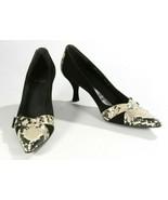 Stuart Weitzman Black Suede & Pyhon Leather Pump Heels Shoes Size 7 1/2 N - $43.99