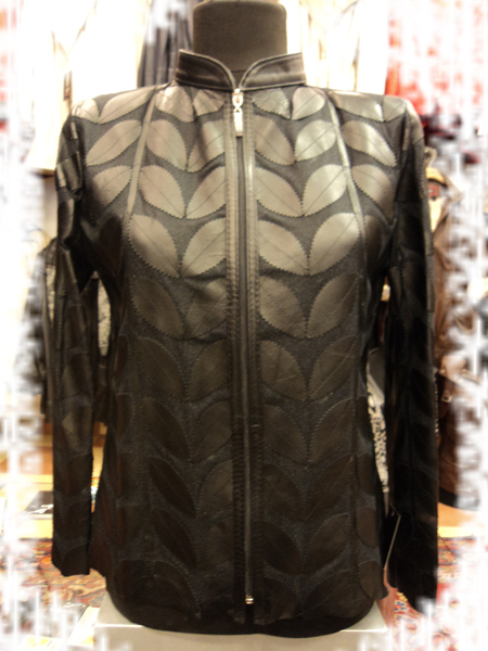 Womens black leather leaf jacket 1