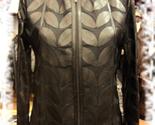 Womens black leather leaf jacket 1 thumb155 crop