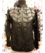 Plus Size Black Leather Leaf Jacket Women All Colours Sizes Genuine Shor... - $115.00