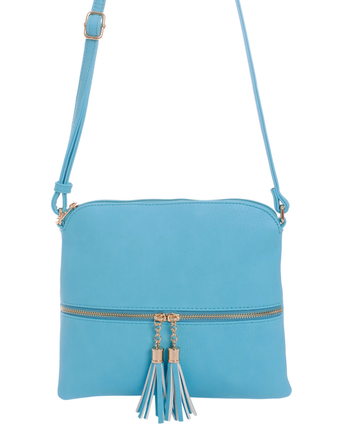Fashion Light Blue Double Tassels Cross Body Messenger Bag Goldtone Tassel