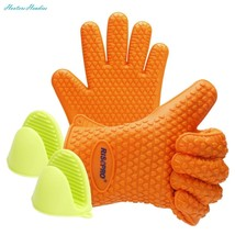 Oven Mitts, RISEPRO Heat Resistant Grilling BBQ Silicone Gloves for Kitc... - $10.88