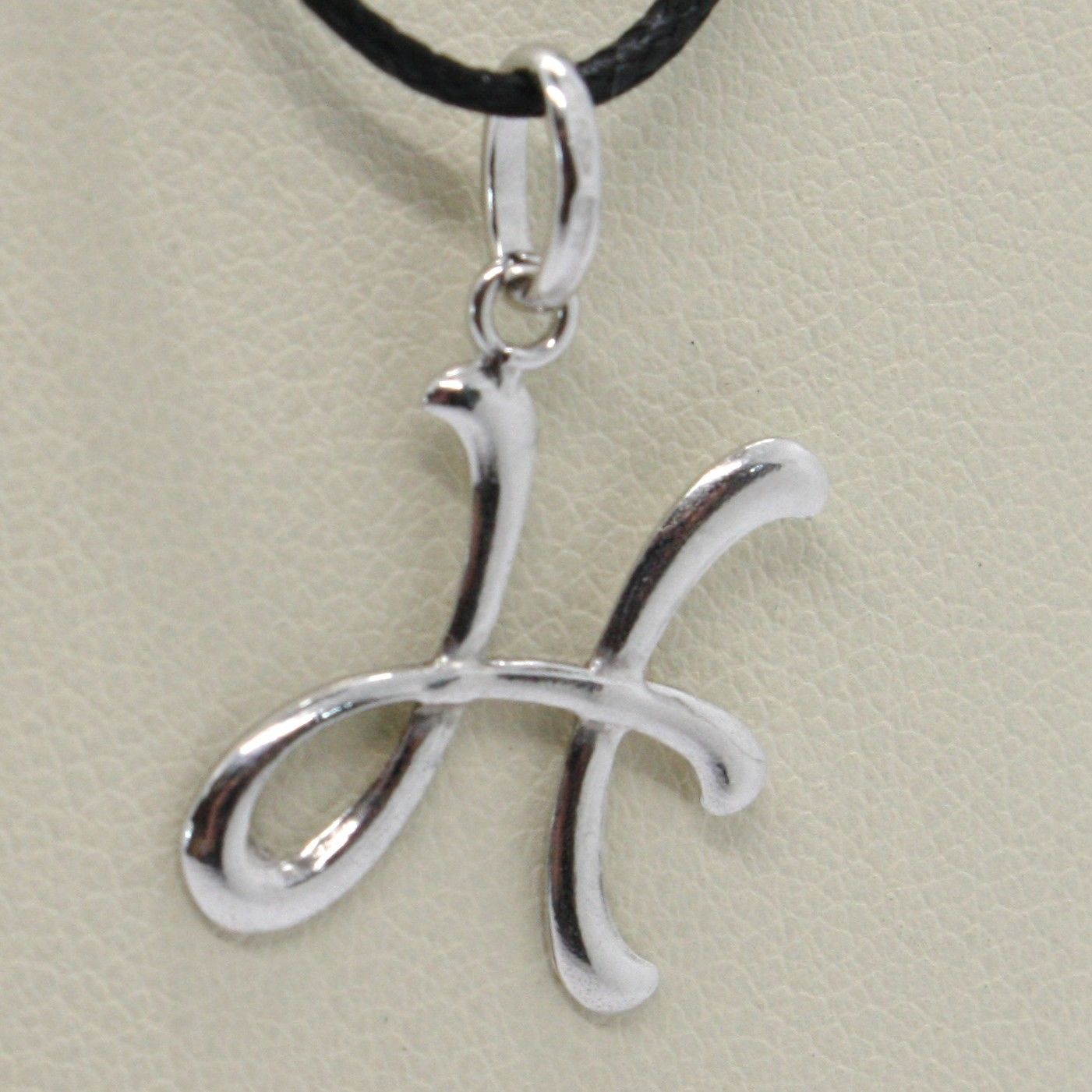 18K WHITE GOLD PENDANT CHARM INITIAL LETTER H, MADE IN ITALY 0.8 INCHES, 21 MM