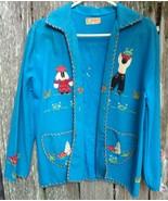 Vtg 1940s Mexican Souvenir Jacket w Couple Felt Wool Folk Applique Embro... - $38.00