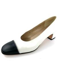 Salvatore Ferragamo White Leather Black Cap Toe Classic Pumps Women's Size 9 B - $69.29