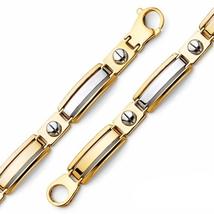 Men's 14K Two Tone Peg Link Bracelet image 2