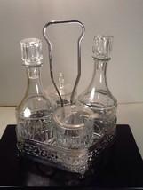 Press Glass Condiment Caddy Set Metal Holder Complete Bars Cruet France ... - $24.85