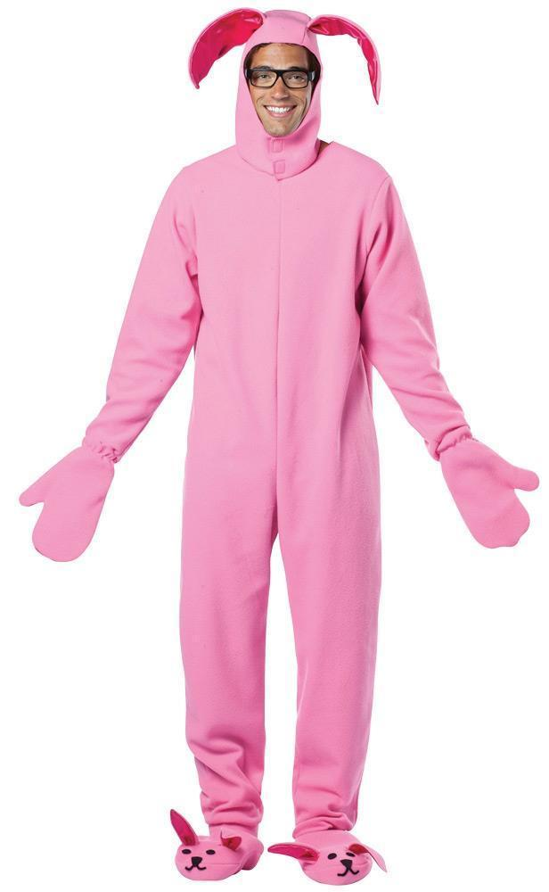 A Christmas Story Ralphie Bunny Costume Pink Adult Men Women Halloween GC2900