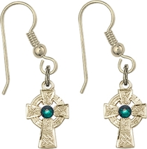 Earrings  Celtic Cross Emerald - Fish Wire - Gold Filled