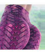 Purple Woven Workout Butt Lifting High Waisted Leggings for Women Sport ... - $18.49+
