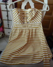Junior white & butterscotch stripe strapless sundress size S/P from Fore... - $12.00
