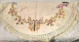 "VINTAGE HAND EMBROIDERED CROCHET EDGED 36"" TABLECLOTH BUTTERFLIES & FLOWERS - $25.73"