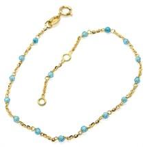 Armband Gelbgold 18K 750, Cubic Zirkonia Blau, Kugel Facettiert,Rolo - $156.91