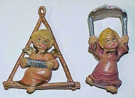 Pair Angel Christmas Ornaments - Made In Italy - $15.99